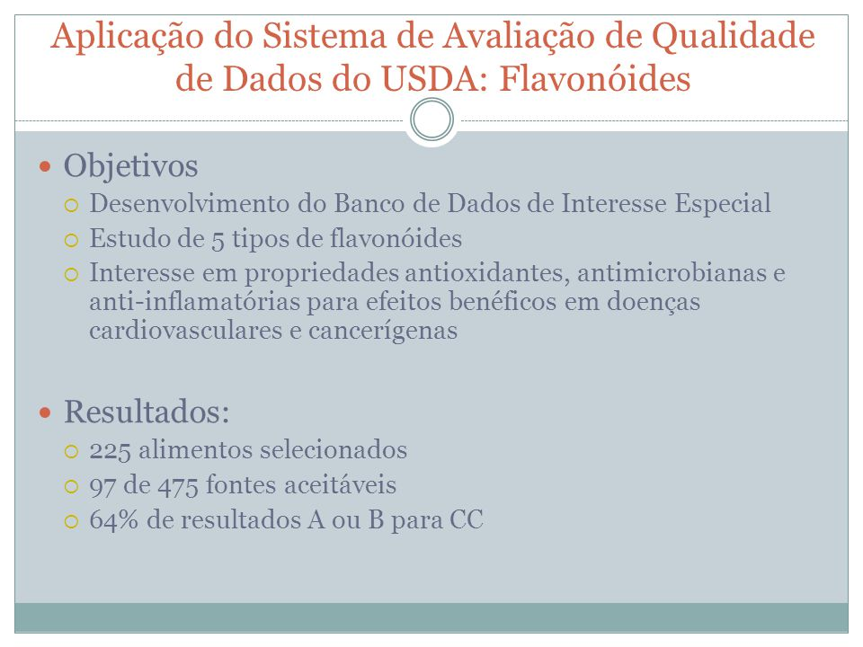 Aplicação do Sistema de Avaliação de Qualidade de Dados do USDA: Flavonóides