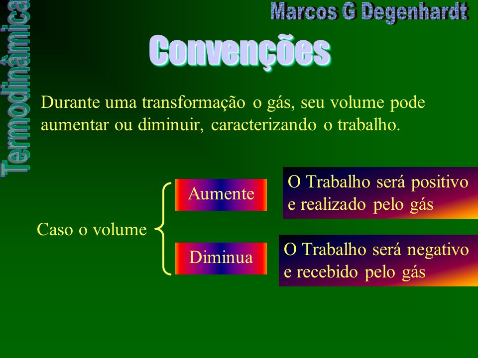 Convenções Durante uma transformação o gás, seu volume pode aumentar ou diminuir, caracterizando o trabalho.