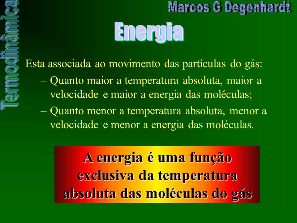Energia Esta associada ao movimento das partículas do gás: Quanto maior a temperatura absoluta, maior a velocidade e maior a energia das moléculas;