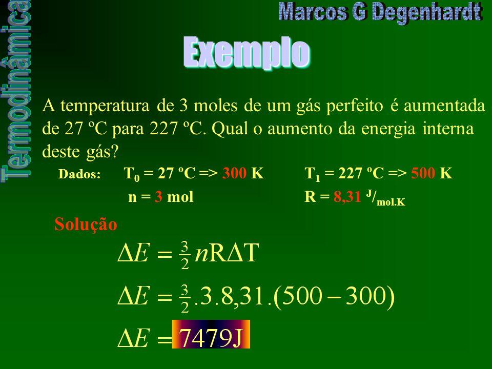Exemplo A temperatura de 3 moles de um gás perfeito é aumentada de 27 ºC para 227 ºC. Qual o aumento da energia interna deste gás