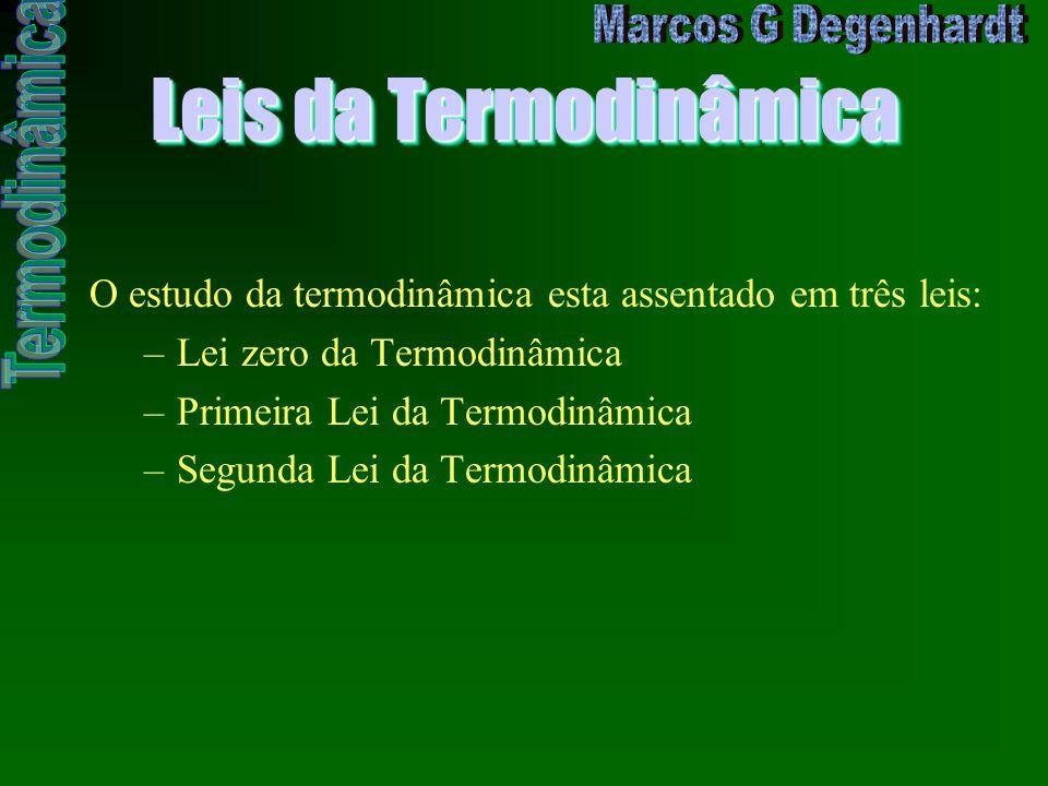 Leis da Termodinâmica O estudo da termodinâmica esta assentado em três leis: Lei zero da Termodinâmica.