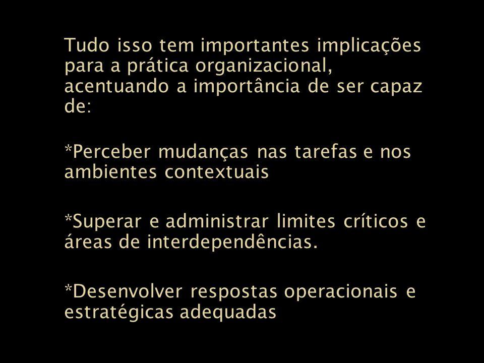Tudo isso tem importantes implicações para a prática organizacional, acentuando a importância de ser capaz de: