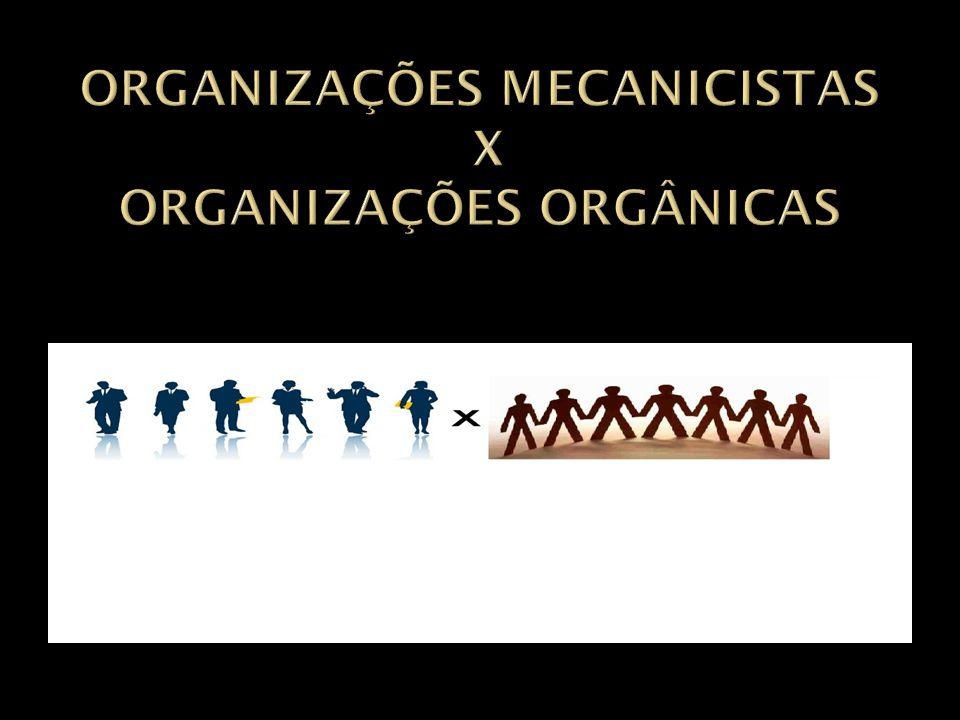 ORGANIZAÇÕES MECANICISTAS X ORGANIZAÇÕES ORGÂNICAS