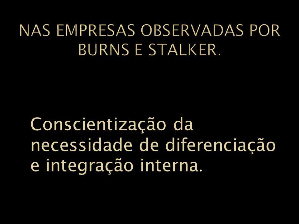 Nas empresas observadas por Burns e stalker.