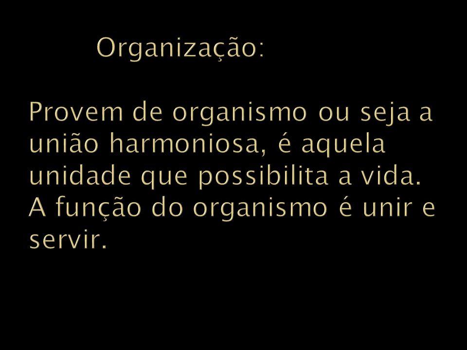 Organização: Provem de organismo ou seja a união harmoniosa, é aquela unidade que possibilita a vida.