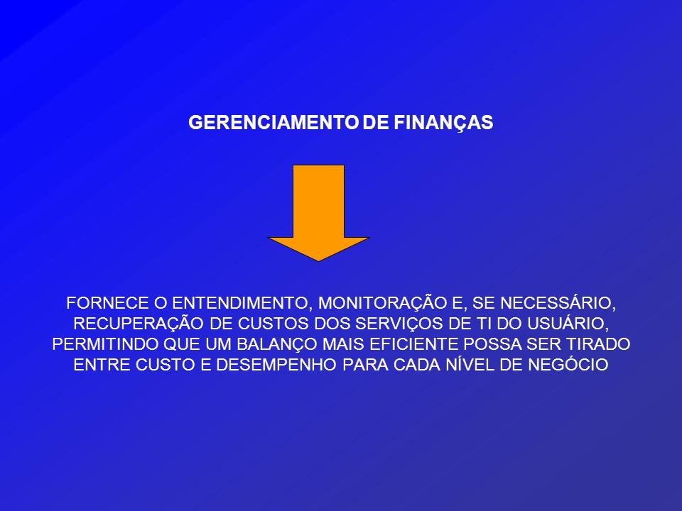 GERENCIAMENTO DE FINANÇAS FORNECE O ENTENDIMENTO, MONITORAÇÃO E, SE NECESSÁRIO, RECUPERAÇÃO DE CUSTOS DOS SERVIÇOS DE TI DO USUÁRIO, PERMITINDO QUE UM BALANÇO MAIS EFICIENTE POSSA SER TIRADO ENTRE CUSTO E DESEMPENHO PARA CADA NÍVEL DE NEGÓCIO