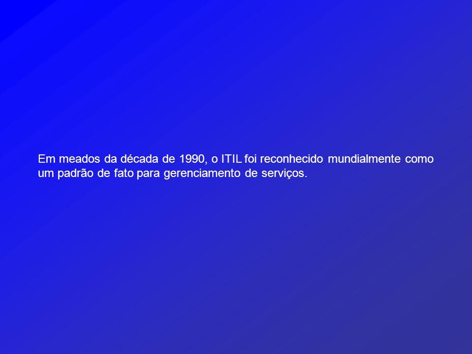 Em meados da década de 1990, o ITIL foi reconhecido mundialmente como um padrão de fato para gerenciamento de serviços.