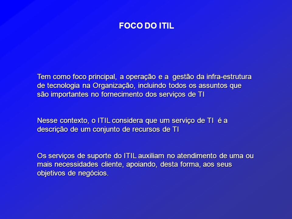FOCO DO ITIL