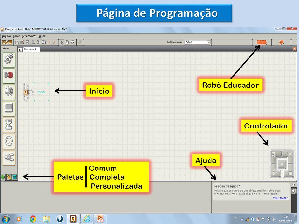 Página de Programação Robô Educador Início Controlador Ajuda Comum