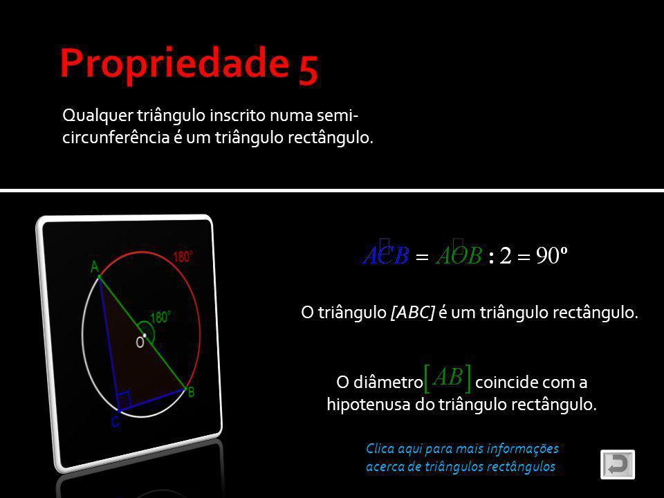 O diâmetro coincide com a hipotenusa do triângulo rectângulo.