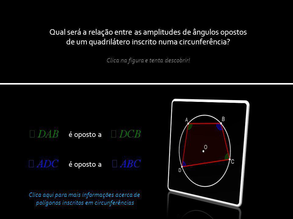 Qual será a relação entre as amplitudes de ângulos opostos de um quadrilátero inscrito numa circunferência
