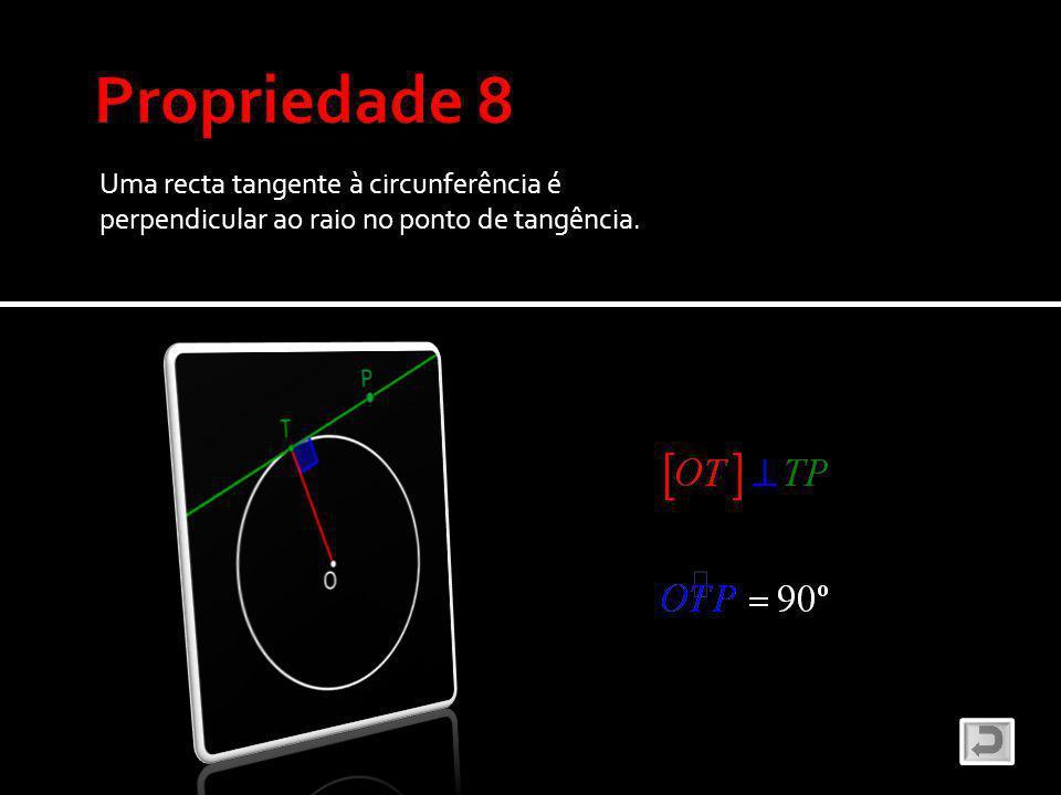 Propriedade 8 Uma recta tangente à circunferência é