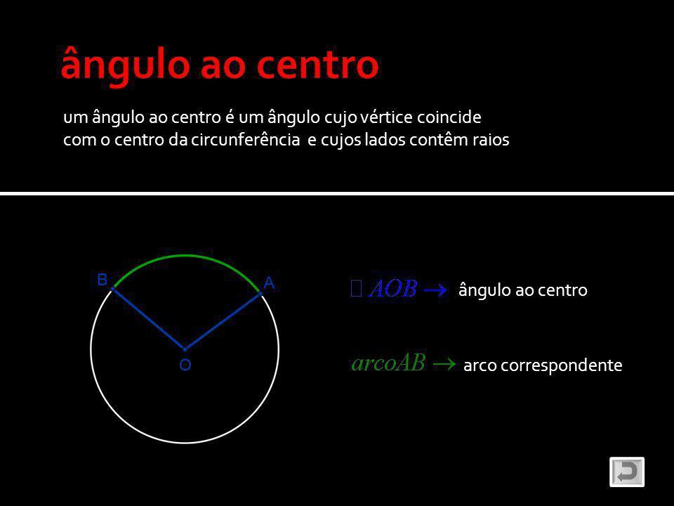 ângulo ao centro um ângulo ao centro é um ângulo cujo vértice coincide
