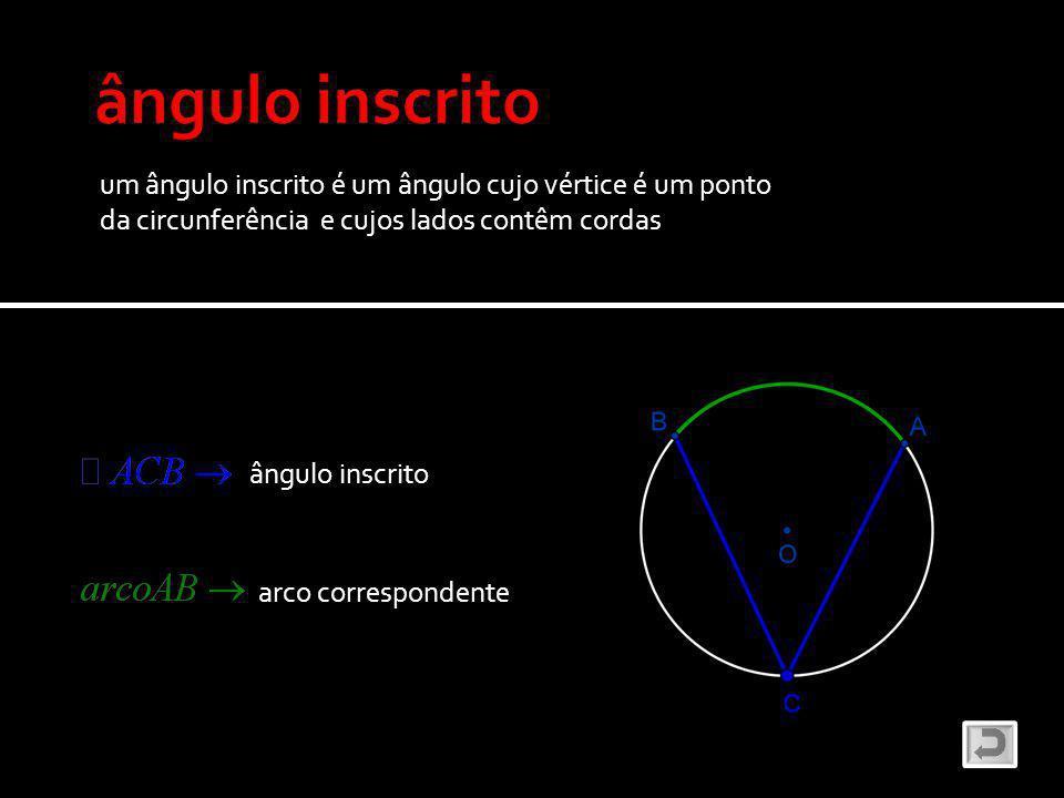 ângulo inscrito um ângulo inscrito é um ângulo cujo vértice é um ponto