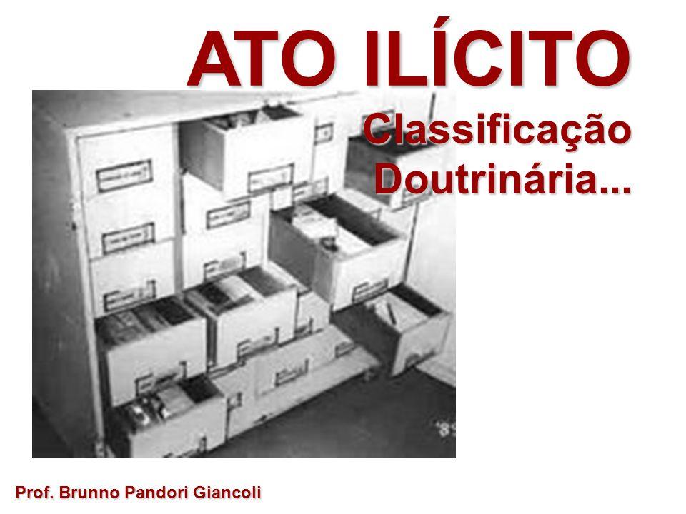ATO ILÍCITO Classificação Doutrinária... Prof. Brunno Pandori Giancoli