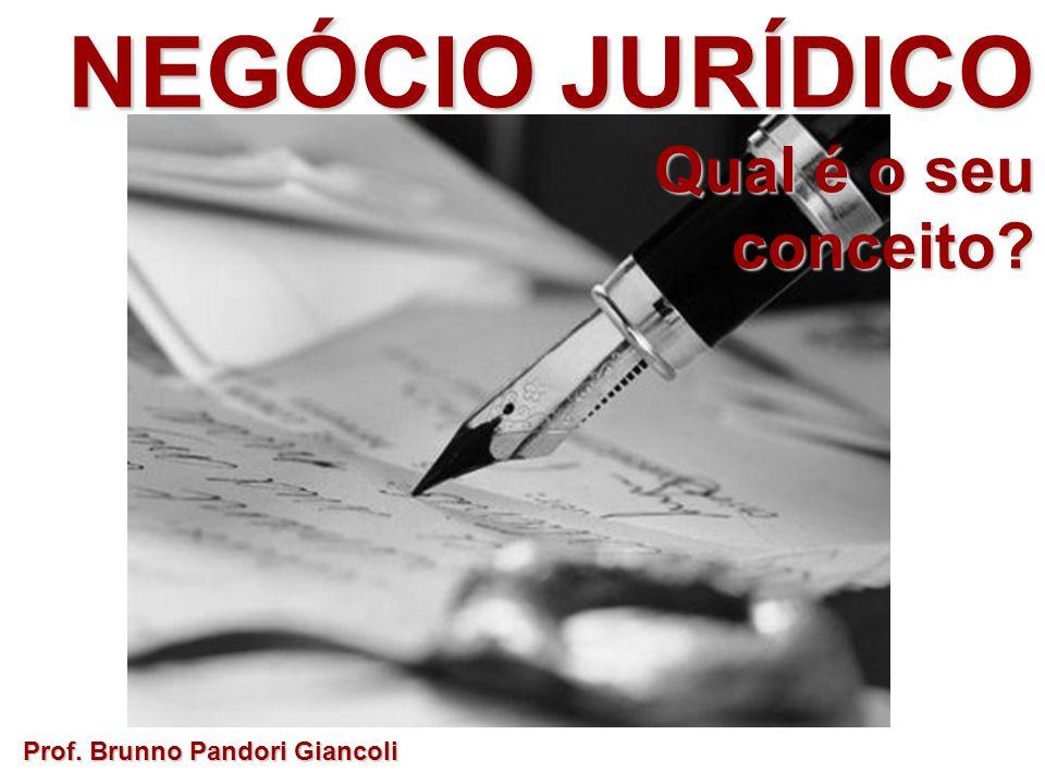 NEGÓCIO JURÍDICO Qual é o seu conceito Prof. Brunno Pandori Giancoli