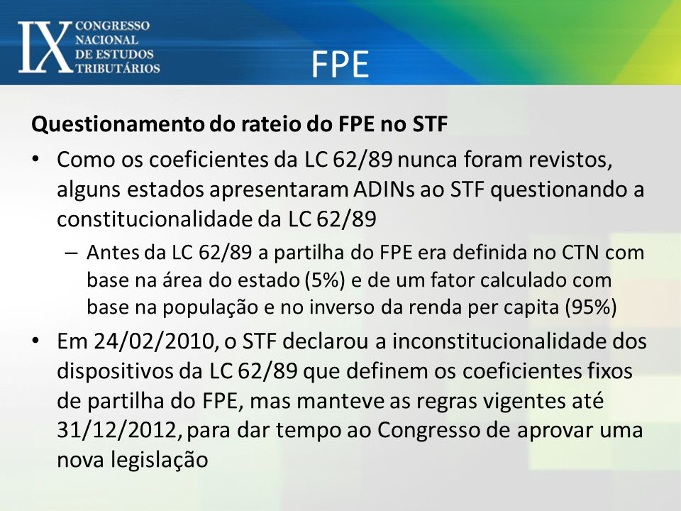FPE Questionamento do rateio do FPE no STF