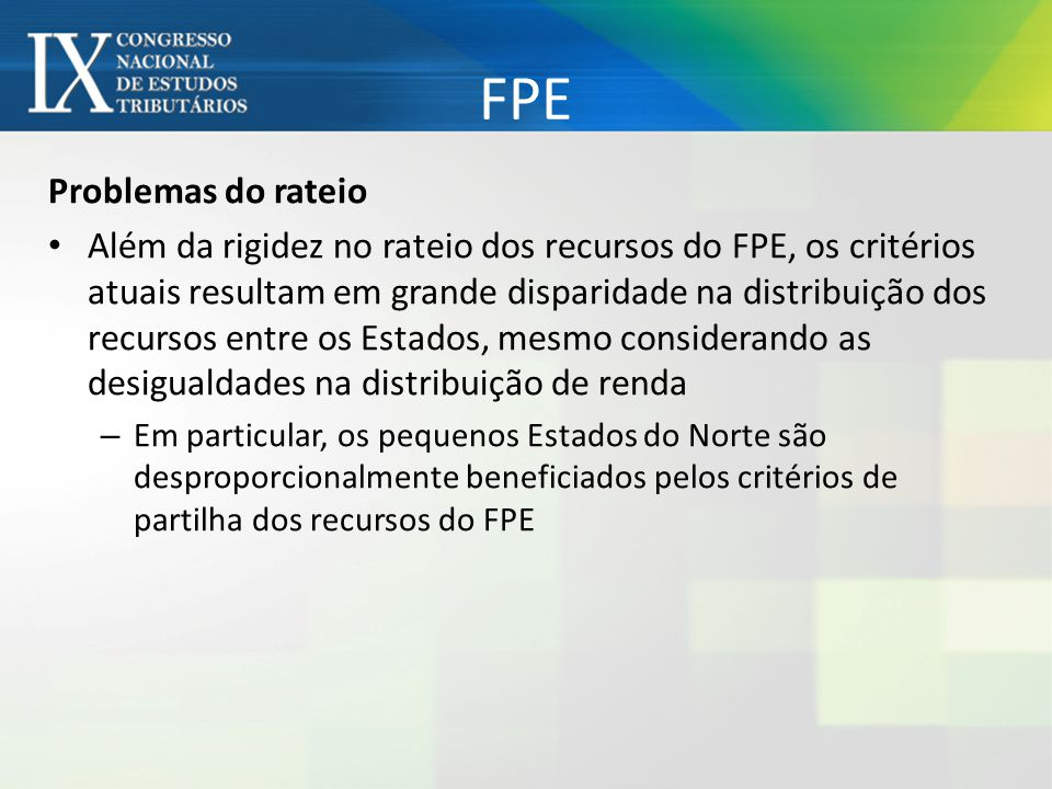 FPE Problemas do rateio