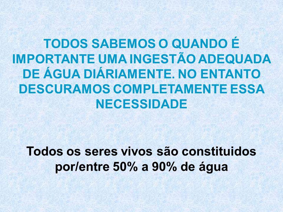 Todos os seres vivos são constituidos por/entre 50% a 90% de água