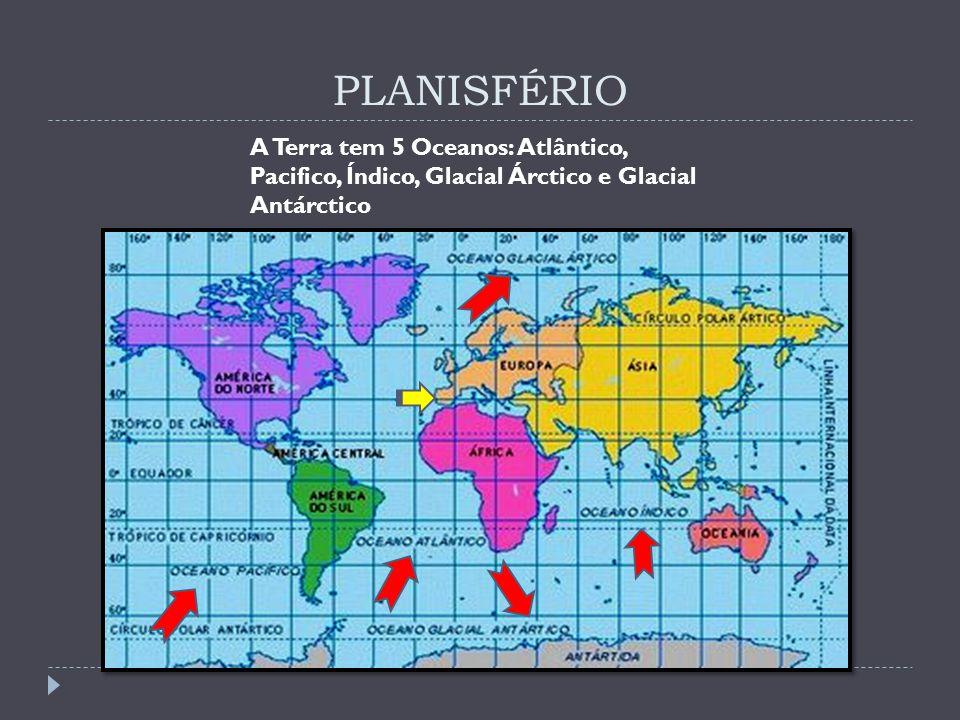 PLANISFÉRIO A Terra tem 5 Oceanos: Atlântico, Pacifico, Índico, Glacial Árctico e Glacial Antárctico.
