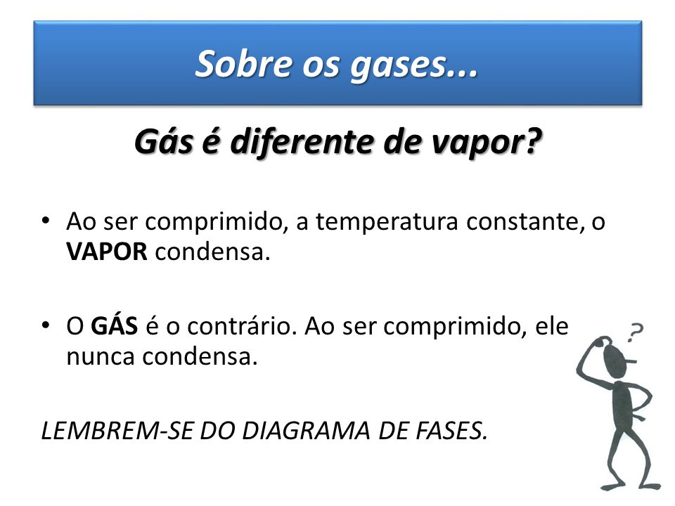 Gás é diferente de vapor