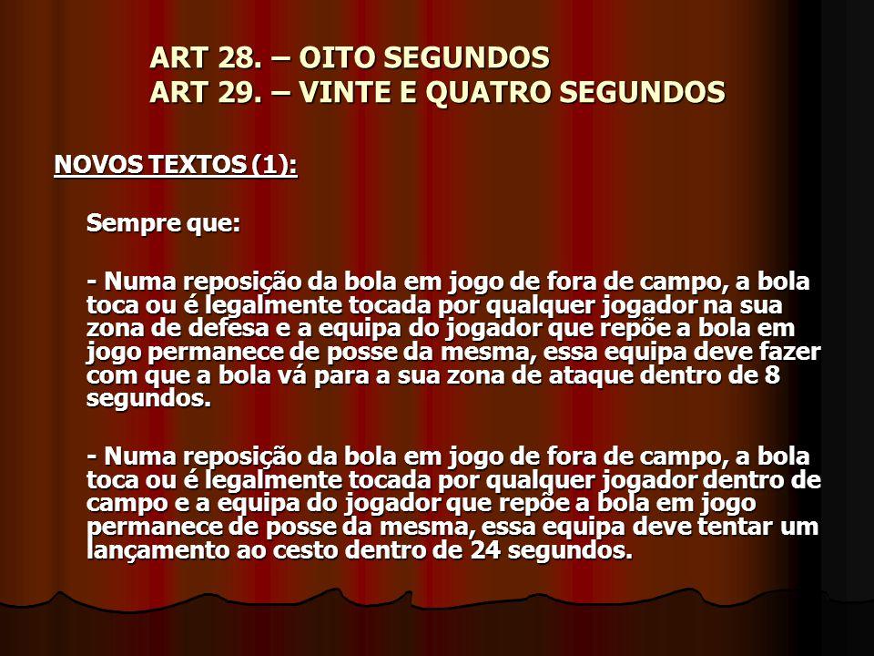 ART 28. – OITO SEGUNDOS ART 29. – VINTE E QUATRO SEGUNDOS