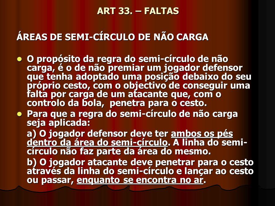 ART 33. – FALTAS ÁREAS DE SEMI-CÍRCULO DE NÃO CARGA.