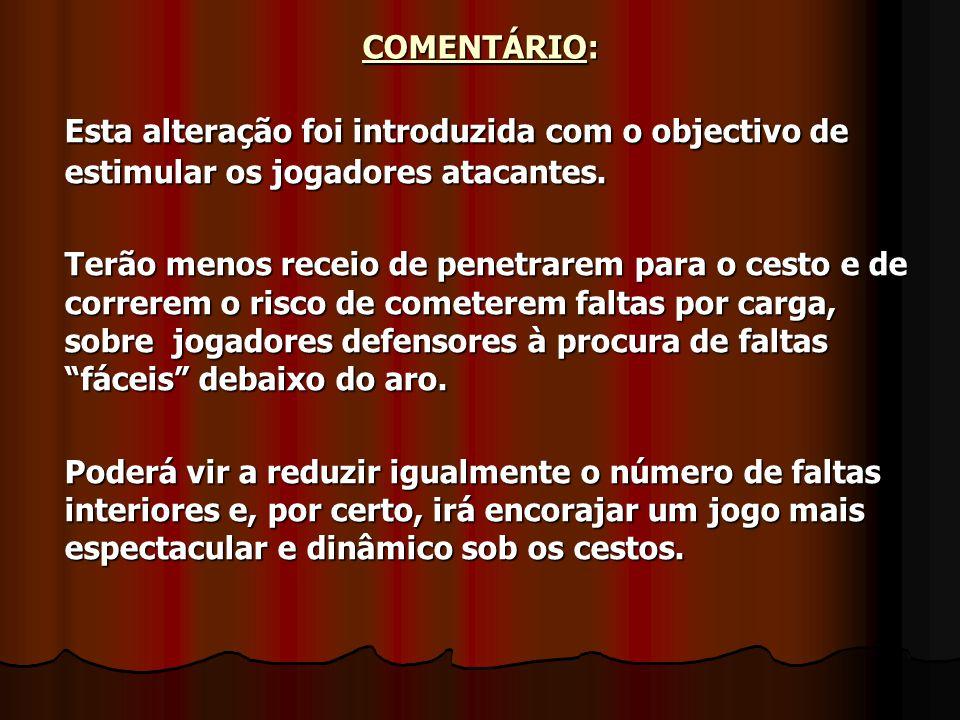 COMENTÁRIO: Esta alteração foi introduzida com o objectivo de estimular os jogadores atacantes.