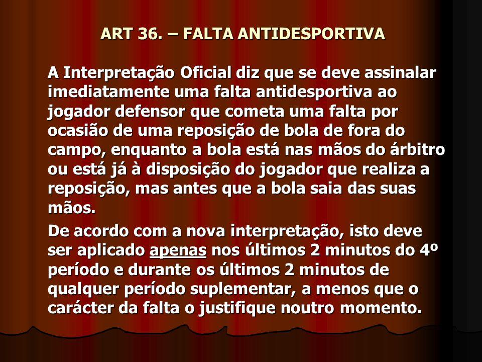 ART 36. – FALTA ANTIDESPORTIVA