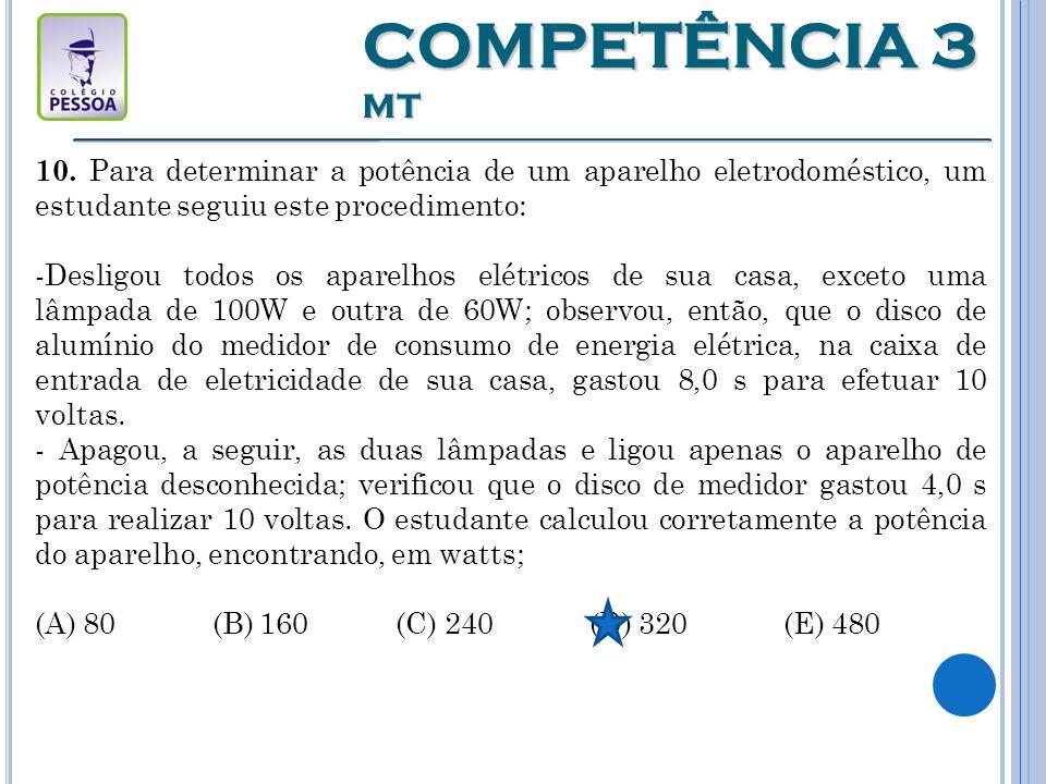 COMPETÊNCIA 3 MT 10. Para determinar a potência de um aparelho eletrodoméstico, um estudante seguiu este procedimento: