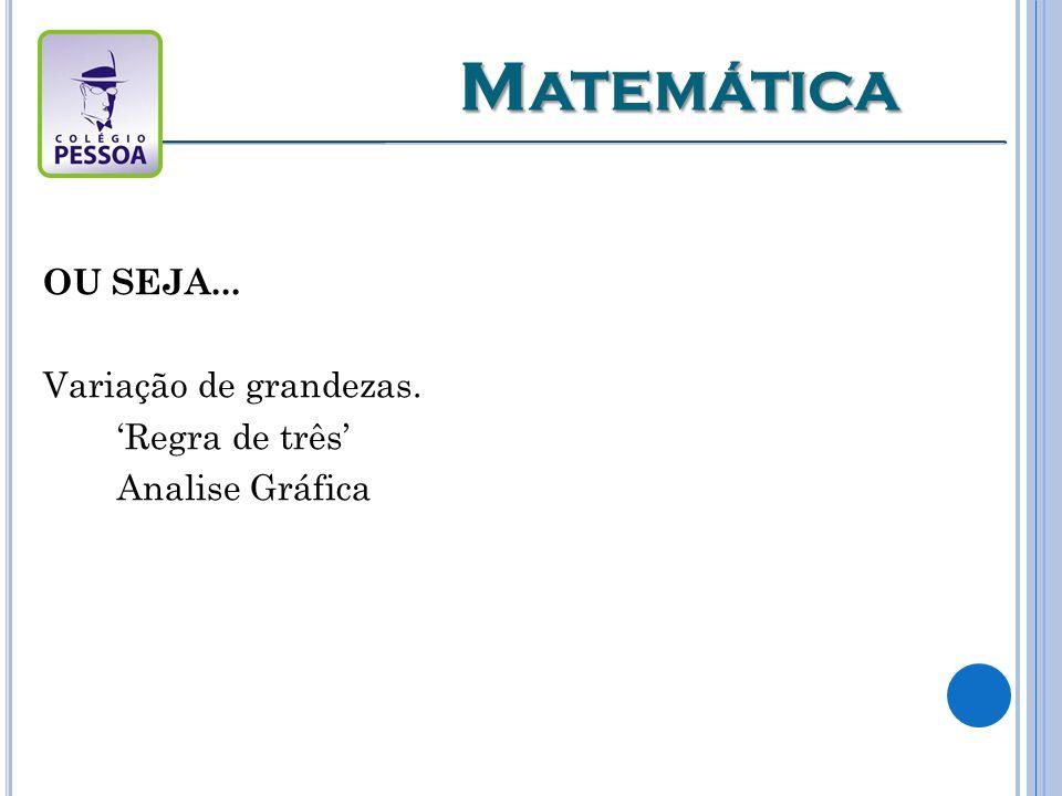 Matemática OU SEJA... Variação de grandezas. 'Regra de três'