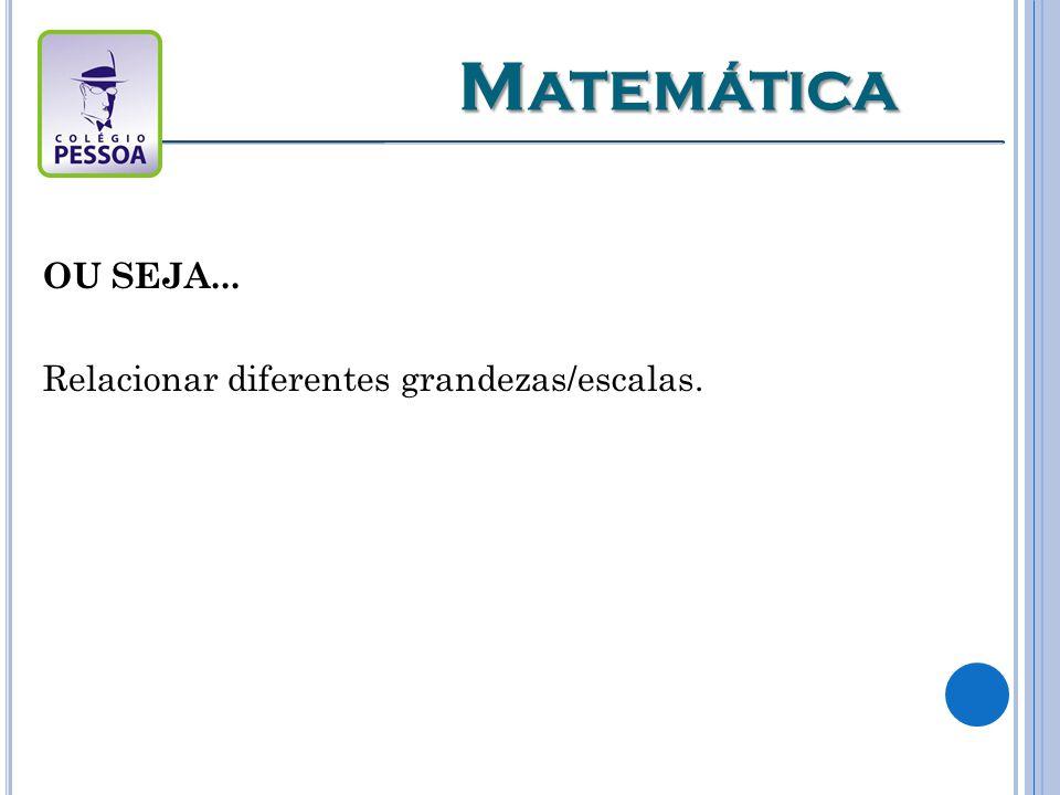 Matemática OU SEJA... Relacionar diferentes grandezas/escalas.