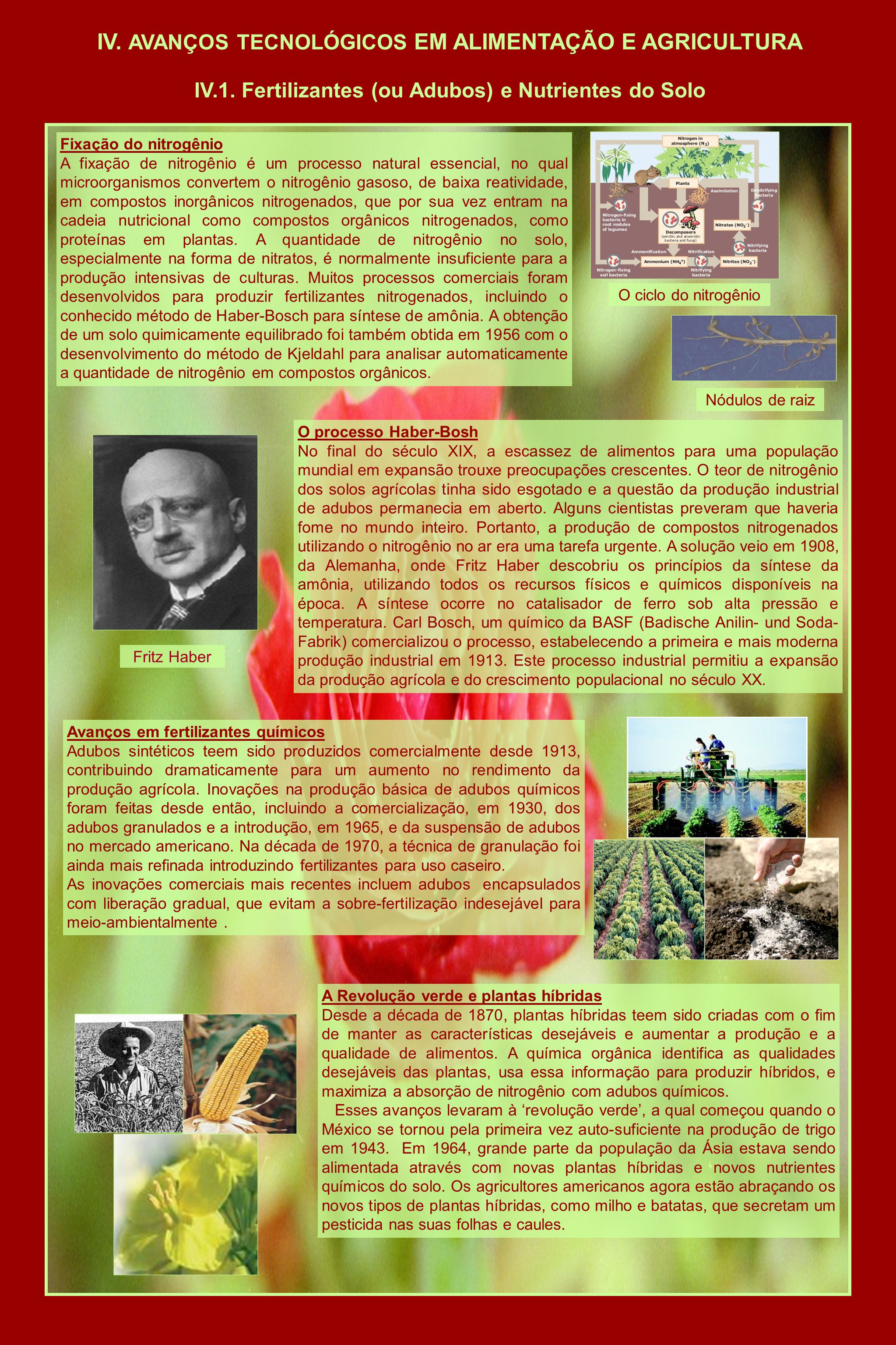 IV. AVANÇOS TECNOLÓGICOS EM ALIMENTAÇÃO E AGRICULTURA