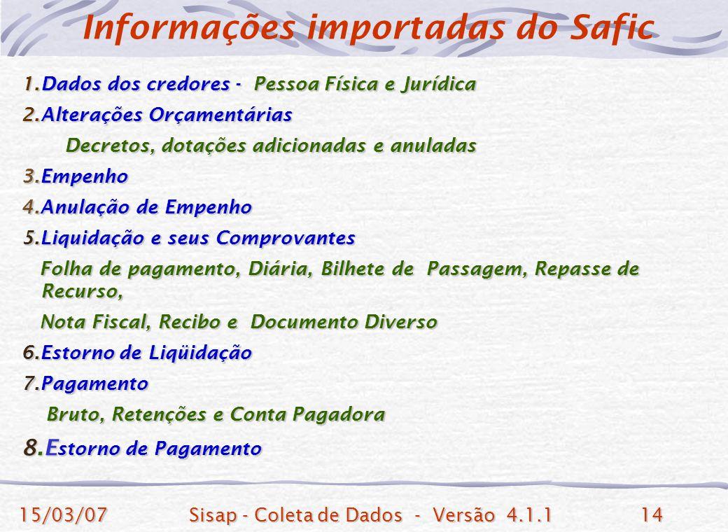Informações importadas do Safic