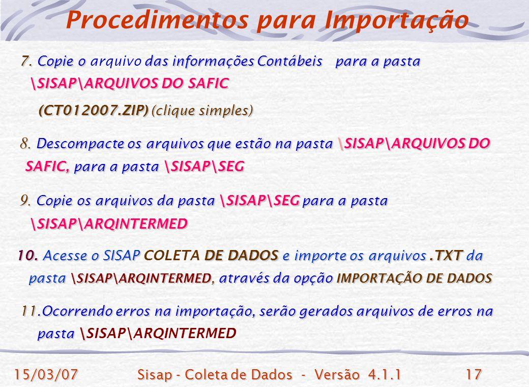 Procedimentos para Importação