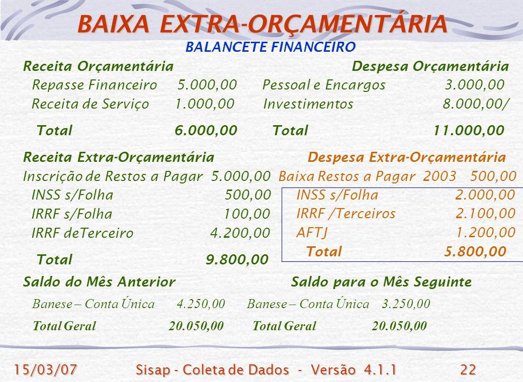 BAIXA EXTRA-ORÇAMENTÁRIA
