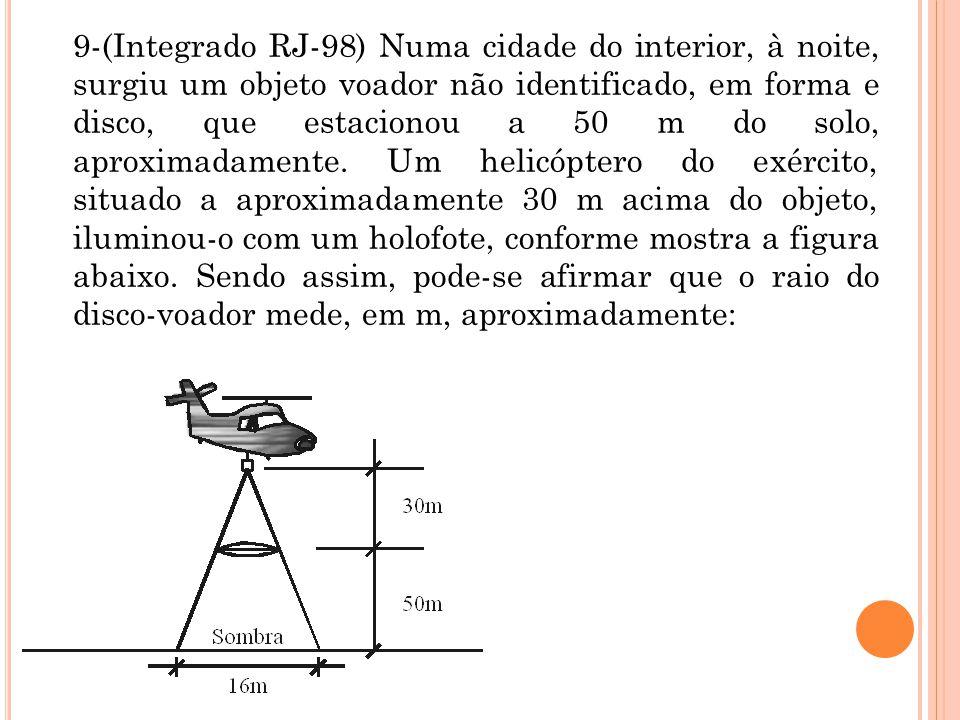 9-(Integrado RJ-98) Numa cidade do interior, à noite, surgiu um objeto voador não identificado, em forma e disco, que estacionou a 50 m do solo, aproximadamente.