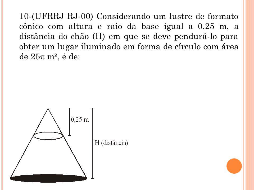 10-(UFRRJ RJ-00) Considerando um lustre de formato cônico com altura e raio da base igual a 0,25 m, a distância do chão (H) em que se deve pendurá-lo para obter um lugar iluminado em forma de círculo com área de 25 m², é de: