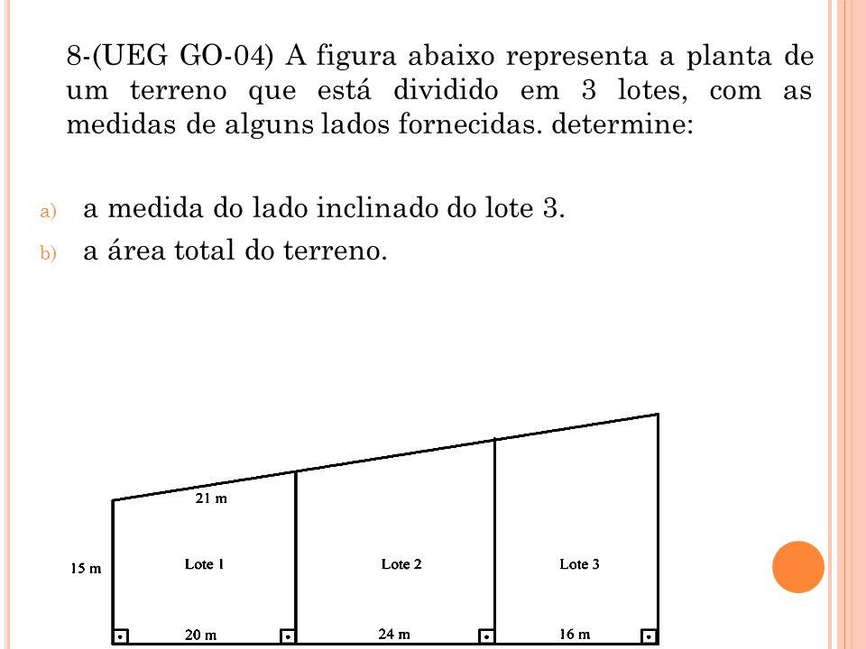 8-(UEG GO-04) A figura abaixo representa a planta de um terreno que está dividido em 3 lotes, com as medidas de alguns lados fornecidas. determine: