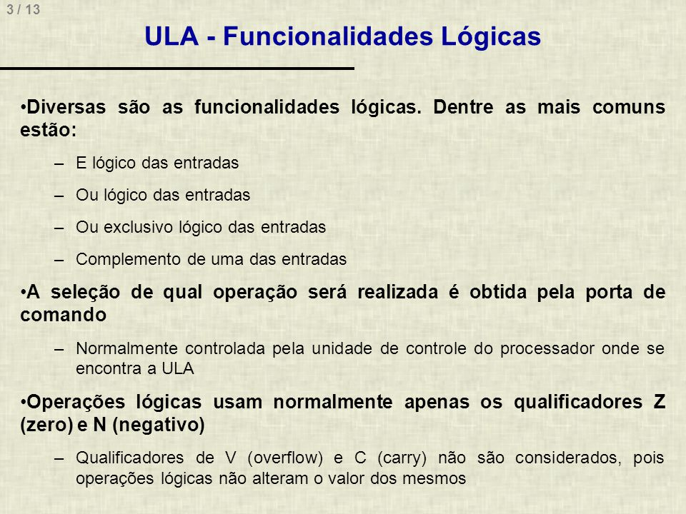 ULA - Funcionalidades Lógicas