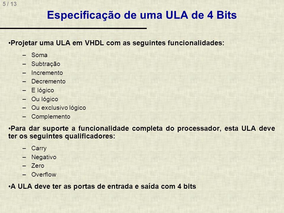 Especificação de uma ULA de 4 Bits