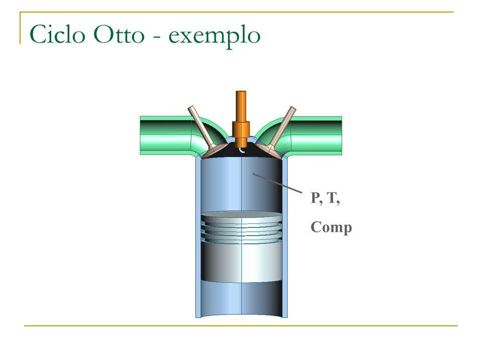 Ciclo Otto - exemplo P, T, Comp