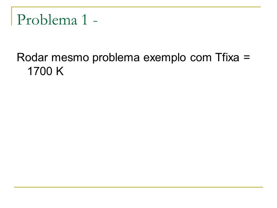 Problema 1 - Rodar mesmo problema exemplo com Tfixa = 1700 K