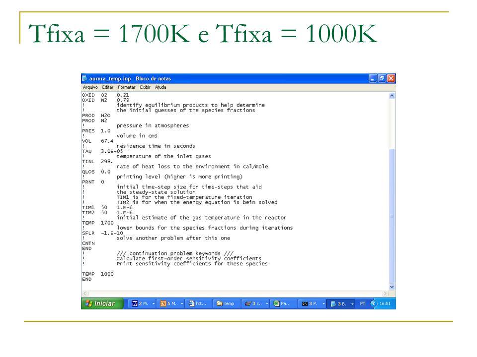 Tfixa = 1700K e Tfixa = 1000K