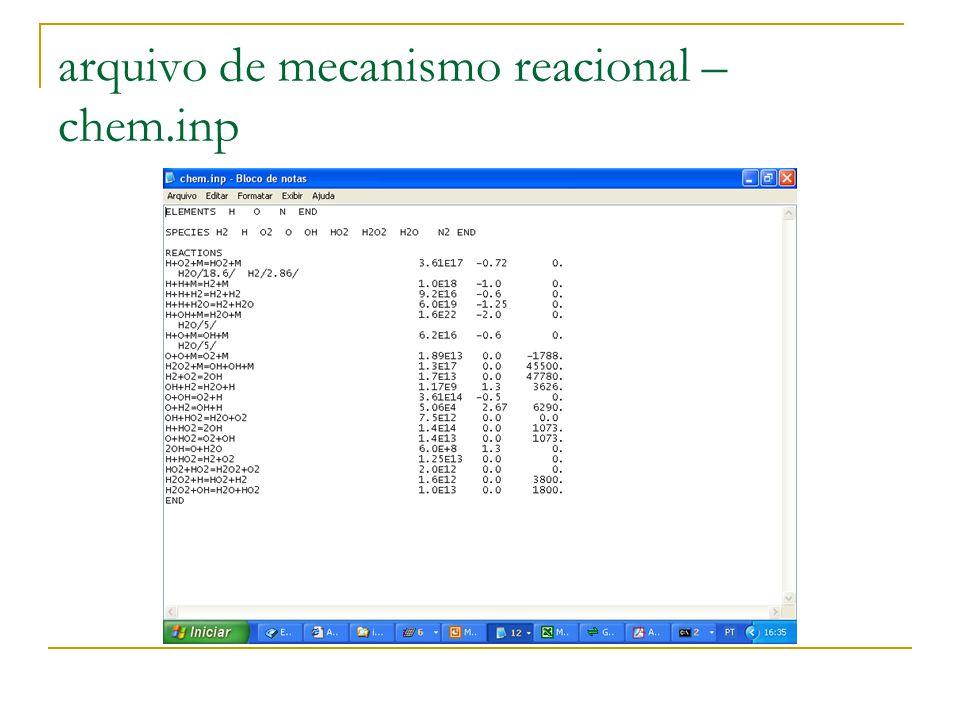 arquivo de mecanismo reacional – chem.inp
