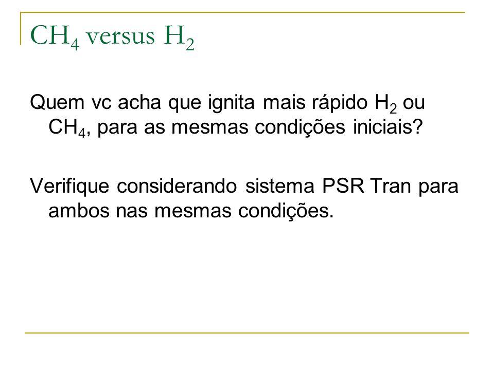 CH4 versus H2 Quem vc acha que ignita mais rápido H2 ou CH4, para as mesmas condições iniciais