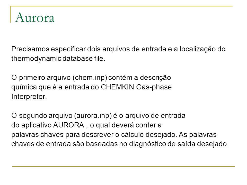 Aurora Precisamos especificar dois arquivos de entrada e a localização do. thermodynamic database file.