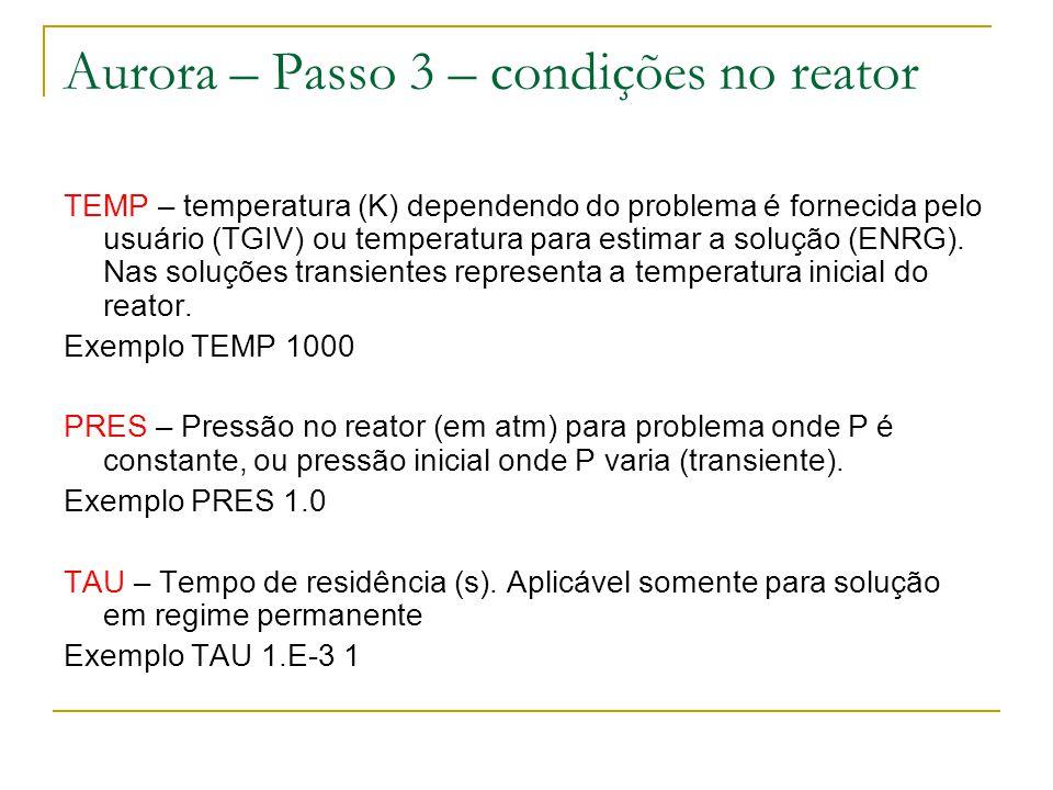Aurora – Passo 3 – condições no reator
