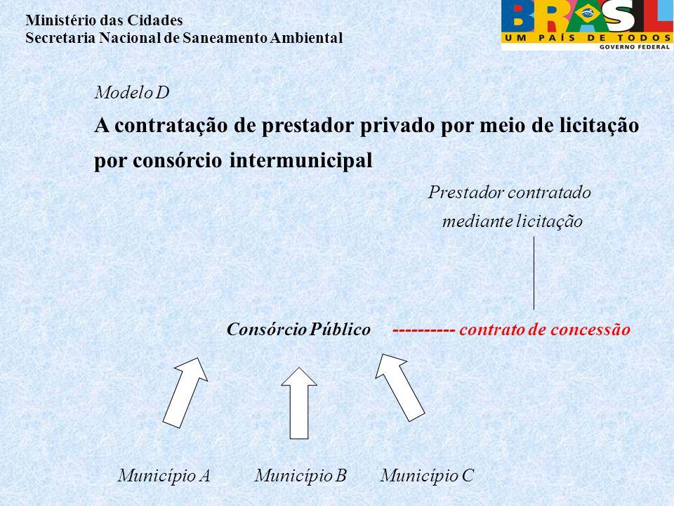 Modelo D A contratação de prestador privado por meio de licitação por consórcio intermunicipal. Prestador contratado mediante licitação.