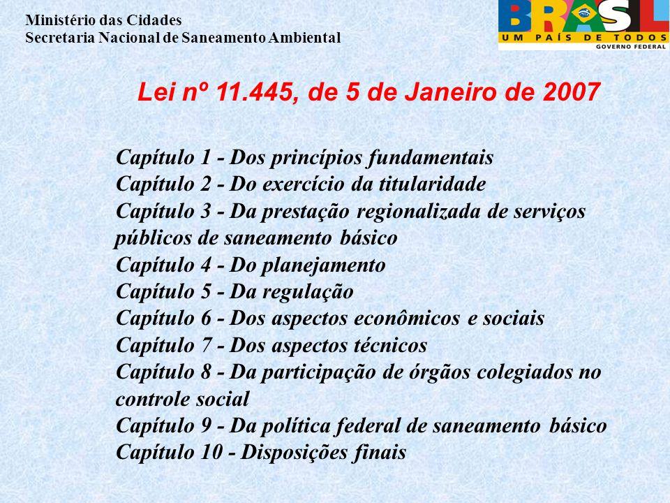 Lei nº 11.445, de 5 de Janeiro de 2007 Capítulo 1 - Dos princípios fundamentais. Capítulo 2 - Do exercício da titularidade.